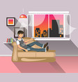 living room with man vector image