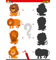 match shadows activity with lion characters vector image vector image