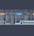 modern high speed trains stopped at railway vector image vector image
