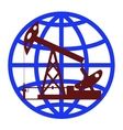 Oil pump in the background of the globe vector image vector image