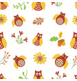 owl cute seamless pattern nature background bird vector image vector image
