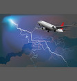 passenger airplane in thunderstorm vector image vector image