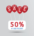 Red Balloon sale with discounts paper poster vector image vector image