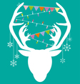 Reindeer white hang christmas accessories on green vector image vector image