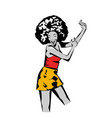 retro disco woman character dance flat vector image
