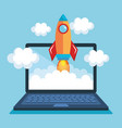 rocket start up with laptop computer vector image