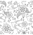 Seamless pattern with swallow bird flying in vector image