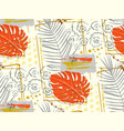 seamless pattern with tropical red and gray leaves vector image vector image