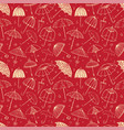 seamless pattern with umbrellas on red background vector image vector image