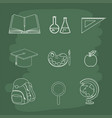 set education accessories to school study vector image
