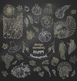 set of chalk Thanksgiving design elements vector image