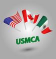 set of three waving flags usmca vector image vector image