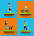set people various activities runner rider bicycle vector image vector image