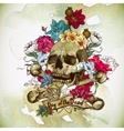 Skull and Flowers vector image
