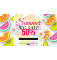 summer sale banner with slices of fruit on white vector image vector image