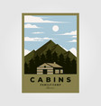vintage cabins poster design night camp in vector image vector image