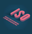 vintage handcrafted isometric alphabet trendy vector image