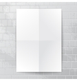 White paper banner against brick wall vector image vector image