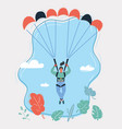 woman with parachute in sky vector image vector image
