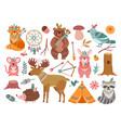 woodland cute animal tribal fox forest adventure vector image vector image