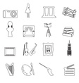 16 outline art icons set eps10 vector image vector image