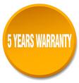5 years warranty orange round flat isolated push vector image vector image