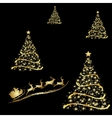 Abstract golden christmas tree on black background vector image vector image