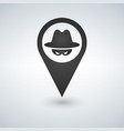 an isolated map mark with a thief icon vector image vector image