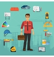 Architecture and Construction flat concept with vector image vector image