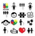 Autism awareness puzzles autistic children icons vector image vector image