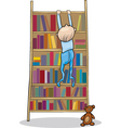 baby boy climbing on bookcase vector image