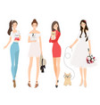 beautiful women holding french bulldog puppy vector image vector image