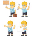 Blonde Rich Boy Customizable Mascot 16 vector image