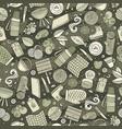 cartoon cute hand drawn picnic seamless pattern vector image vector image