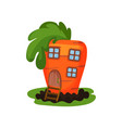 cartoon of fantasy carrot house with vector image vector image