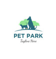 cat and dog at park logo vector image vector image