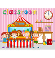 Children playing puppet on stage vector image vector image