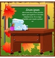 Classroom with desk and blackboard vector image