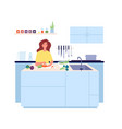 cooking time vegetarian food woman cooking vector image