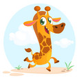 cool cartoon giraffe vector image vector image