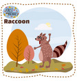 cute cartoon raccoon on background landscape vector image