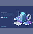 data center concept of cloud storage data transfer vector image vector image