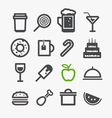 Different drinks and food icons set Design vector image vector image