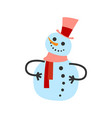 female snowman in warm winter scarf and high hat vector image vector image