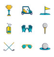 golf icons set cartoon style vector image vector image