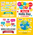 hello day banner set flat style vector image