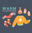knitted woolen winter clothes and accessories vector image vector image
