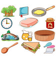 large set different food and other items on vector image vector image