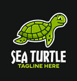 mascot sea turtle logo vector image