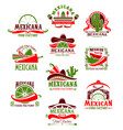 mexican restaurant sign with pepper and sombrero vector image vector image